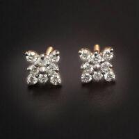 Pave 0,69 Cts Ronde Brillante Couper Diamants Clous Boucles d'oreilles En 14K Or