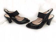 Bruno Premi Black Patent Leather Block Heel Sandals Size Eur 40 Uk 6