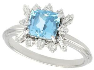 Vintage 1.77 ct Aquamarine 0.40 ct Diamond 18k White Gold Dress Ring Q 1/2