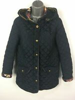 WOMENS JOULES MARCOTTE NAVY BLUE DIAMOND QUILTED HOODED ZIP UP JACKET COAT UK 12