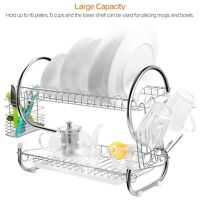 2 Tiers Kitchen Dish Cup Drying Rack Holder Dish Mug Multifunctional Rack USA