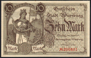 1918 10 Mark Germany Wuerzburg Emergency WWI Money Banknote Currency Rare UNC