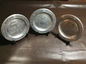 """Walter Hagen Invitational 10"""" Pewter Plates (Includes 3 Plates)"""