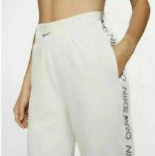 Nike Pro Women's M L XL Tear away Loose fit sweatpants bottoms snap Cream BV3350