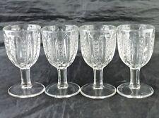 VINTAGE PRESSED GLASS GOBLET SET 4 CRISS CROSS PATTERN STEMWARE CLEAR GLASSWARE