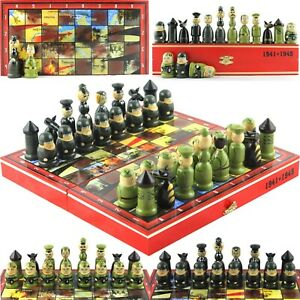 Great Patriotic War Themed Chess Set Germany vs USSR Russian Dolls Toy Soldiers