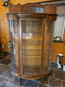 Antique Oak Wood Curved Glass China Cabinet, Curio, Plates Display, Case, Key