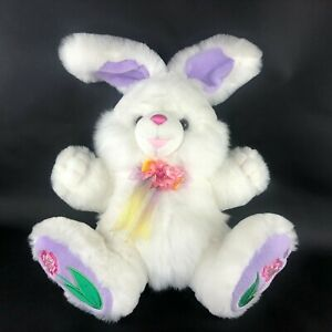 """Dan Dee Hoppy Hopster Easter Bunny Plush White Rabbit Bow Flower Feet 14"""" Body"""