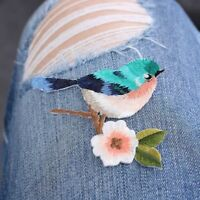 2PCs DIY Sew Embroidery Birds Sew Iron On Patch Badge Applique Patches With Glue