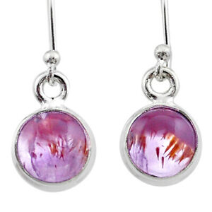 JAIPUR SILVER 6.27cts Natural Cacoxenite Super Seven Dangle Earrings T44650