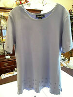 Denim & Co. Women's Orchid Purple Short Sleeve Stretch Tunic Top Size Large