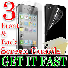 3 X FRONT & BACK CLEAR LCD SCREEN PROTECTOR FILM FOR APPLE iPHONE 4 4S