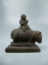Antique Chinese Terracotta Pottery Statuette of Herd Boy and Ox from Estate PT