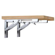 """2X Stainless Steel 12"""" Folding Shelf Brackets Heavy Duty Wall Shelves  550lb"""