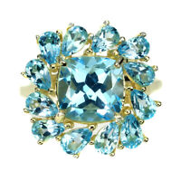 Cushion Swiss Blue Topaz 9mm 14K Yellow Gold Plate 925 Sterling Silver Ring 7