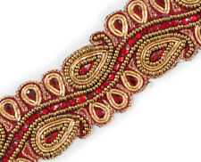 "2"" Wide Ruby Red Beaded Trim Paisley Gold Bullion With Sequins 1.5 Yards"