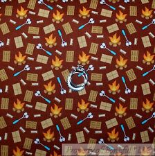 BonEful Fabric FQ Cotton Quilt Brown Red White Marshmellow Smores Fire Cabin Boy