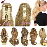 US Jaw Ponytail Clip in Hair Extension Claw Pony Tail Wavy Blonde Hair Piece 14""
