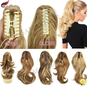 """US Jaw Ponytail Clip in Hair Extension Claw Pony Tail Wavy Blonde Hair Piece 14"""""""