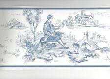 Blue on Soft White Colonial Toile Wallpaper Border CTG11902B
