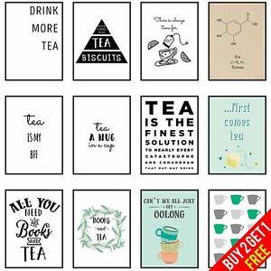 Tea Poster Framed Tea Themed Wall Artwork Tea Lovers Gift Print Kitchen Picture