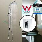 8'' Square Double Rainfall Shower Head Set Brass Handheld Sliding Rail Mixer Tap