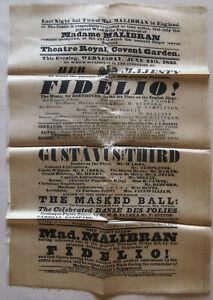 1835 Georgian Silk/Satin Theatre Programme Theatre Royal Covent Garden - Fidelio