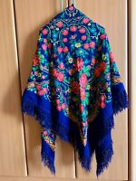 """Pavlovo Posad Authentic Russian Shawl Colorful 100% Wool With Fringes 57""""x57"""""""