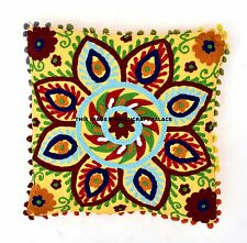 Suzani Embroidery Cushion Cover Indian Cotton Pillow Case Cover Decor Throw 16""