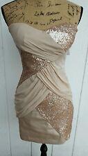 Elise Ryan Size SM (12 UK / 40 EUR) Beige Sequined Strapless Cocktail Dress