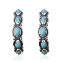 925 Sterling Silver Pear Turquoise Hoops Hoop Earrings Southwest Jewelry Ct 1.3