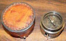 Maritime antique brass compass with measuring tape leather case christmas gift
