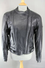 FRANK THOMAS BLACK LEATHER BIKER JACKET WITH REMOVABLE BACK PROTECTOR: SIZE 14