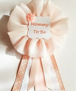 Pink and White Mommy to Be Baby Shower Pin Badge