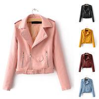Women Retro Biker Motorcycle Faux Leather Zipper Short Jacket Coat Plus Size Hot