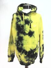 Tie Dye HOODIE Yellow/Black Beach Soft Cotton Skate/Punk Elephant Unisex Men's L
