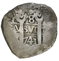 Lima, Peru, cob 8 reales, 1741V. Choice . Full and well-centered pillars