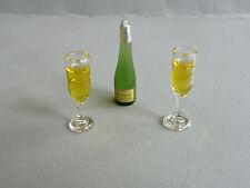 Champagner Flasche plus 2 Champagner Flöten Puppenstube 1:12 o Diorama 1:18