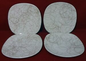 KNOWLES china PINK THREADS K1005 pattern Set of 2 Bread Plates & 2 Saucers