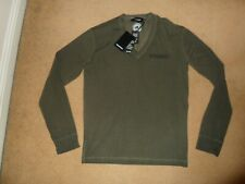 NEW DSQUARED2 ITALY DARK GREEN V NECK LONG SLEEVE T-SHIRT with logo LARGE £200