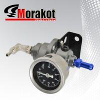 JDM Adjustable 1-140 Psi Fuel Pressure Regulator Kit With Liquid Gauge Gunmetal