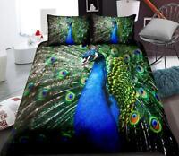3D Blue Peacock ZHUA742 Bed Pillowcases Quilt Duvet Cover Set Queen King Zoe