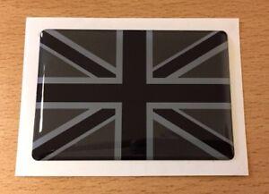 UNION JACK FLAG Sticker/Decal 70mm - BLACK & 2 TONE GREY - HIGH GLOSS DOMED GEL