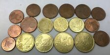 Misc Lot of Circulated & Uncirculated 18 Euro Coins Totaling  2.02 Euro Dollars.