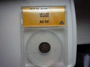 1871(GRADED ANACS)(AU50) SEATED HALF DIME- BEAUTIFUL TONE++++!!! A BEAUTY!!!