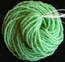 Opal Light Green Czech Glass Seed Beads 12 Strand Full Size Hank 10/0