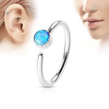 Nose ring hoop jewelry 316L Surgical Steel Opal Gem Center 20 gauge-8mm ring