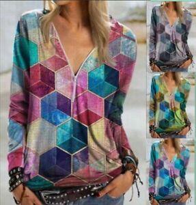 Womens V Neck Zipper Blouse Shirt Ladies Print Pullover Casual Jumper Tops Boho