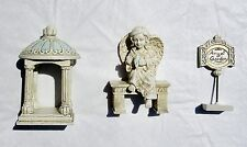 Nib Miniature Fairy Garden Angel Bench Garden Sign Gazebo 3 Pc Resin Statue Set