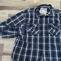 Nautica Jeans Co. NJ-99 long sleeve Plaid shirt button down Men's Large